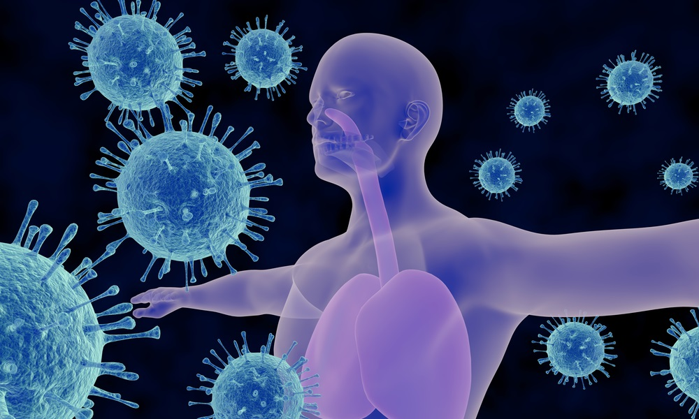 An illustration related to viral infections of the respiratory system. The illustration includes the depictions of the human respiratory system and influenza viruses in a contemporary stylized layout.